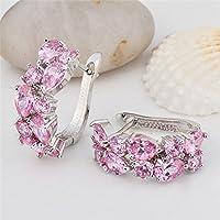 Wanmanee Charm Women 925 Silver Pink Sapphire Cluster Stud Hoop Earrings Wedding Jewelry