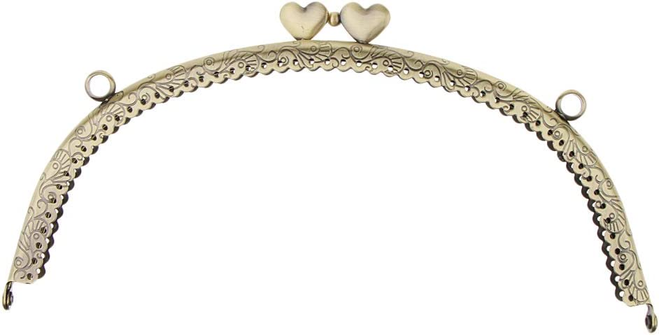 Cornice Metallo Antico Cuoro Bacio Serratura Chiusura Accessorio Donna per Borsellino 12.5x7cm