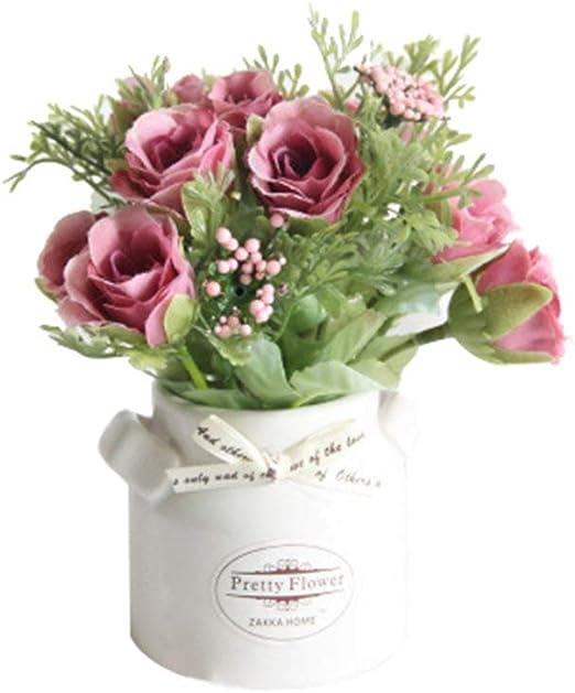 Homeofying - Jarrón de cerámica con flores artificiales, para jardín, bodas, decoración, fiestas, etc.: Amazon.es: Belleza