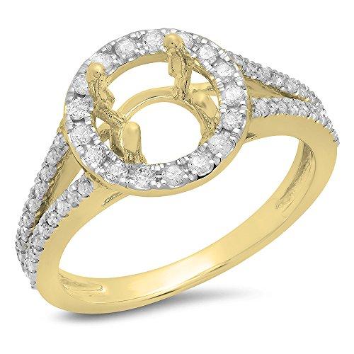 0.40 Carat (ctw) 14K Yellow Gold White Diamond Ladies Bridal Halo Semi Mount Engagement Ring (Size 6.5) (Yellow Gold Engagement Ring Mounting)