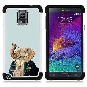 BullDog Case - FOR/Samsung Galaxy Note 4 SM-N910 N910 / - / NOBLE MAN ELEPHANT PAINTING PORTRAIT ART /- H??brido Heavy Duty caja del tel??fono protector din??mico - silicona suave