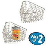 wedge pasta basket - mDesign Lazy Susan Wire Storage Basket with Handle for Kitchen Cabinets, Pantry - Pack of 2, 1/8 Wedge, Satin