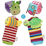 Daisy 4-Piece Animal Baby Infant Wrists Rattle and Socks Foot Finders Set Developmental Soft Toy -...