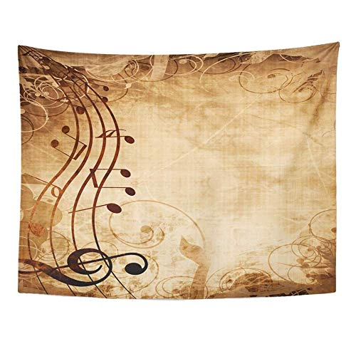 SSKBJTBDW Brown Vintage Old Music Sheet with Musical Notes Yellow Book Page Swirl Antique Tapestry Soft Polyester Cotton Appropriate Size Nice Wall Hanging Decoration
