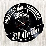 El Grito vinyl wall clock Mexican Taquería great gift for men, women, kids, girls and boys, birthday, christmas beautiful home decor - unique design that made out of vinyl LP record