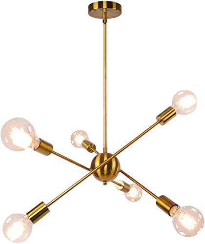 OYIPRO Sputnik Chandelier, 6 Lights Chandelier Pendant Lighting Mid Century Modern Industrial Starburst Style Ceiling Lamp Light Fixture for Flat and Sloped Ceiling Brass Finish