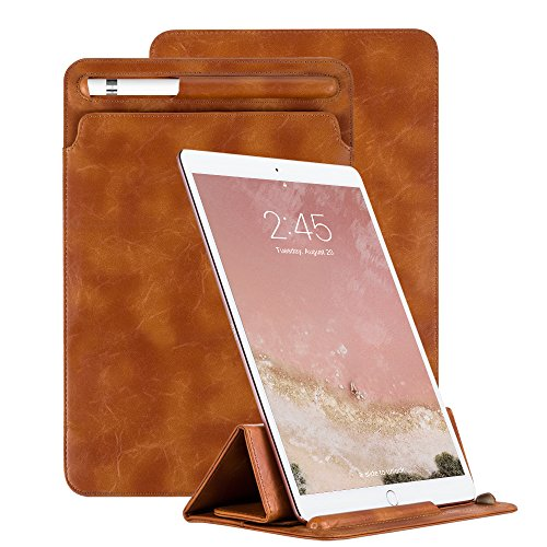 JUQITECH 2018 New iPad 9.7 Inch Case Sleeve with Apple Pencil Holder, Tri-fold Stand Ultra-Thin PU Pouch Leather Cover for 9.7 Inch and 10.5 Inch Apple iPad Pro Case,Brown