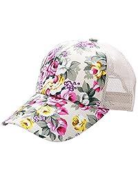 Fashion Floral Style Adjustable Baseball Cap Hip Hop Trucker Snapback Summer Mesh Hat for Women Girls Beige