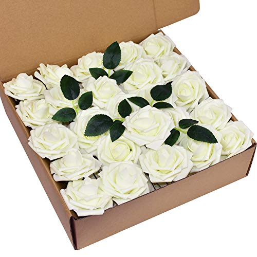 Lacheln Artificial Flowers Roses 50pcs Real Looking Lifelike Rose for Wedding Bouquets Centerpieces Arrangements DIY Party Baby Shower Home Decorations,Ivory (Lavender Bouquet Rose)