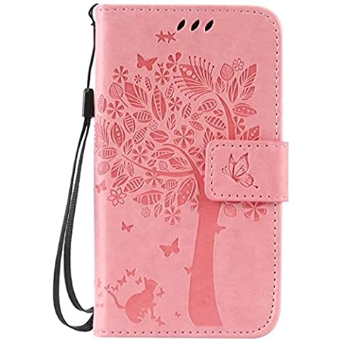 G386F Case, Galaxy Avant G386 Case, Love Sound [Cat Tree Butterfly/Pink] [Wrist Strap] Luxury PU Leather Wallet Case Flip Cover Built-in Card Slots Stand for Samsung Galaxy Core LTE 4G (Samsung Galaxy Core Lte Case G386)