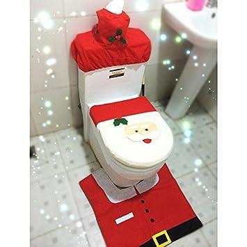 EBASE Weihnachtsmann WC Sitzbezug Und Vorleger BADEZIMMERGARNITUR Set Für  Weihnachten Dekoration