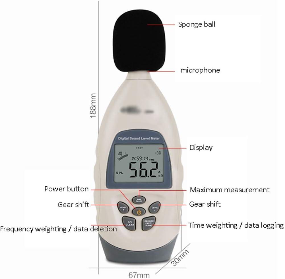 LittleBeauty Digital Sound Measurement Handheld Sound Level Noise Meter Noise Test Professional Grade Decibel Meter uses 4 1.5VAA Alkaline Batteries Noise Tester