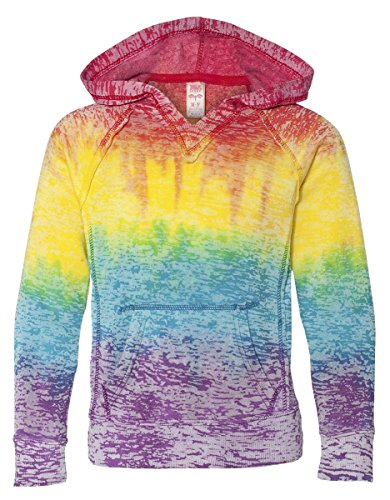 MV Sport Girls V-Notch Sweatshirt. 1162Y - Small - Rainbow Stripe