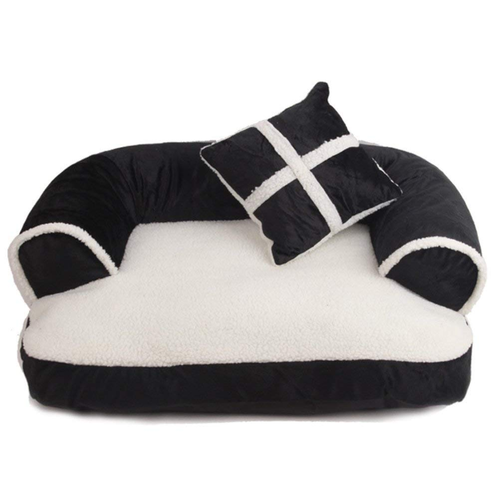 Black Medium Black Medium Luxury Pet Dog Sofa Beds with Pillow Detachable Wash Soft Fleece Cat Bed Warm Dog Cats Bed,Black,M