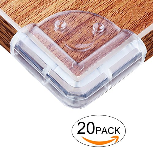 20 Pack Baby Safety Corner Guards Clear - CrazyLynX Smile Table Corner Guards Bumpers Protect Child - Rubber Baby Proofing Anti-Collision Safety Corner Protector for Desk Bed Cupboard Furniture Edge