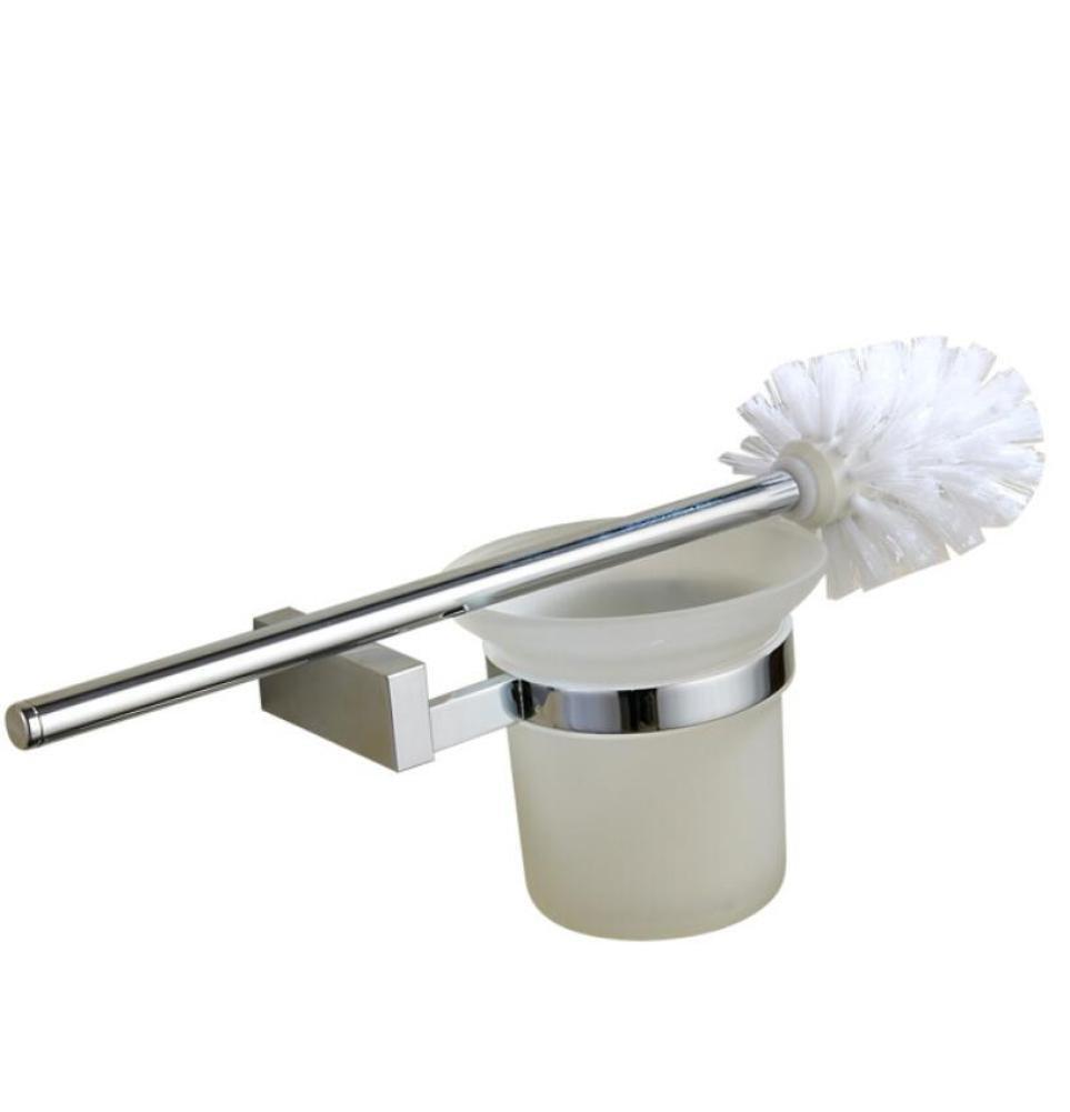 GL&G All Bronze Silver Bathroom Toilet Brush Bracket, Home Hotel Wall-Mounted Toilet Brush Cleaning Brush Toilet Brushes & Holders