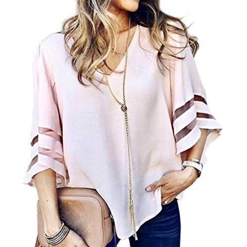 lgant Mousseline Pink Patchwork Haut Col vases Femme Manches Tops Automne Casual Printemps Sexy Blouse Chemisier t Chic T Minetom V 3 4 Shirt qCAwfaB