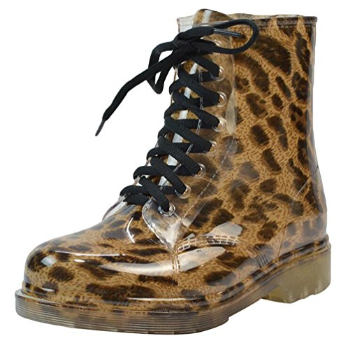 LvRao Mujer Boots Impermeable con Cordones de Zapatos Booties Corto de Lluvia Nieve Botas Casual de Jardín Leopardo