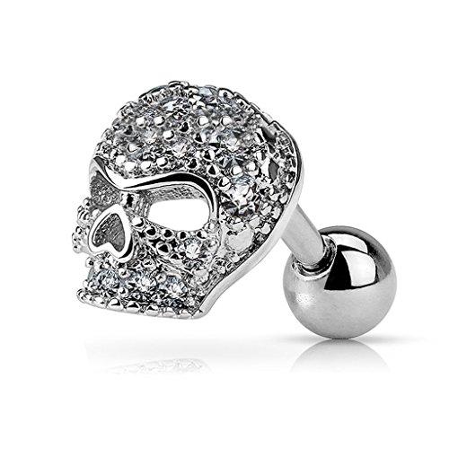 Skull Labret - Fifth Cue 16G Micro CZ Paved Skull 316L Surgical Steel Cartilage, Tragus, Labret Barbell Stud