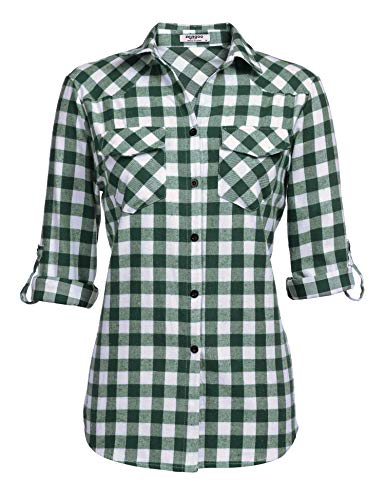 Zeagoo Womens Tartan Plaid Flannel Shirts, Roll up Sleeve Casual Boyfriend Button Down Gingham Checkered Shirt, Grass Green, Small ()