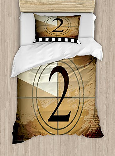 Ambesonne Movie Theater Twin Size Duvet Cover Set, Countdown Screen Illustration with Number 2 on Grunge Background, Decorative 2 Piece Bedding Set with 1 Pillow Sham, Pale Brown Black White by Ambesonne