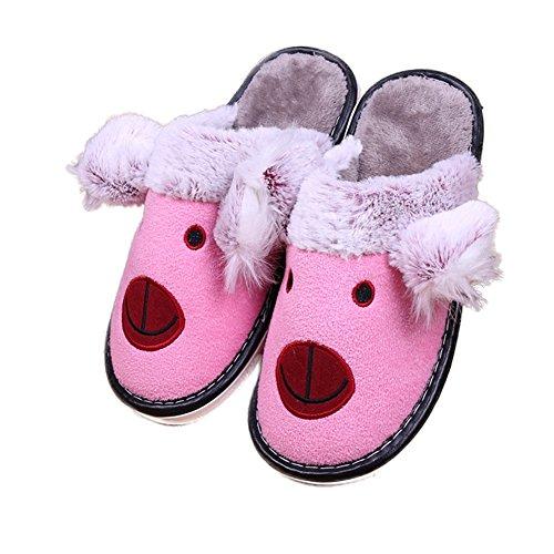 CYBLING Cute Cartoon Fashion Fuzzy Warm House Slipper Antiskid Soft Sole Washable For Women Pink FujNjt