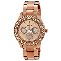 Fossil Women's ES3003 Stainless Steel Analog Pink Dial Watch from Fossil