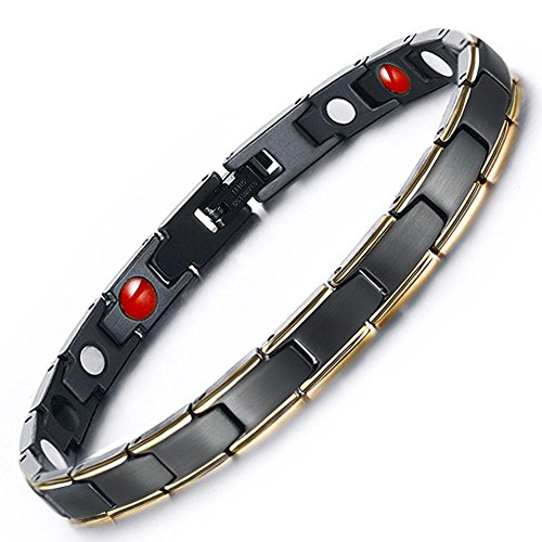 Hottime 316L Stainless Steel Magnetic Therapy Bracelet Pain Relief for Arthritis and Carpal Tunnel (Lady Style)