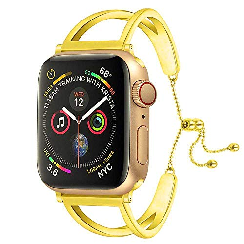 Sundo Compatible Iwatch Band 38/40mm 42/44mm Newest Released Unique Jewelry Style Classic Cuff Bracelet Stainless Steel Replacement Strap for Women Girls Men Series 4 3 2 1(Gold 2, 38mm/40mm)