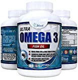 ULTRA Omega 3 Fish Oil 3,000mg High Strength Burpless Joint Support Supplement 915mg EPA and 630 mg DHA Fatty Acids Molecularly Distilled Pure Ocean Living Cold Water Fish Oils 180 Gel Capsules