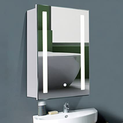 Warmiehomy Modern Led Bathroom Mirror Cabinet With Touch Switch Demister Shaver Socket 700x500mm