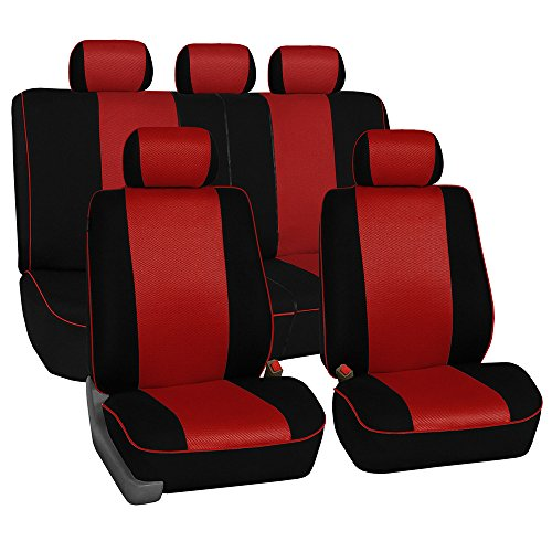 (FH Group Universal Fit Full Set Cloth Car Seat Cover with Piping Airbag & Split Ready, (Red/Black) (FH-FB063115, Fit Most Car, Truck, Suv, or Van) )