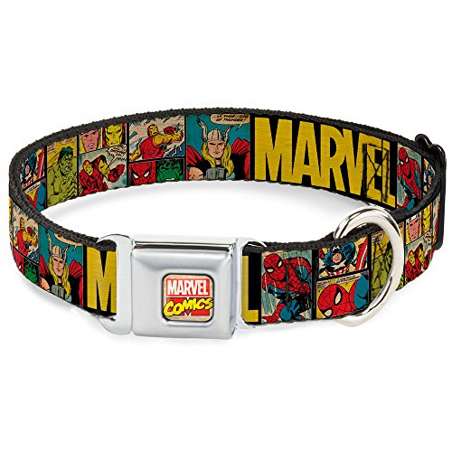 "Buckle-Down Dog Collar Seatbelt Buckle - MARVEL/Retro Comic Panels Black/Yellow - 1"" x 11-17 Inches"