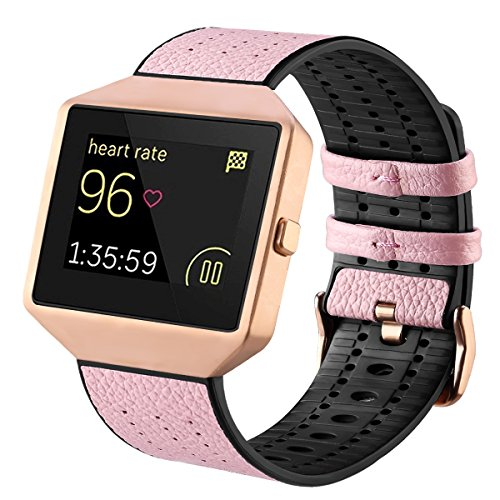 Fitbit Blaze Bands with Frame, TENGL Leather TPU Replacement Sport Strap with Rose Gold Frame for Fitbit Blaze Smart Fitness Watch, Large Small, Pink