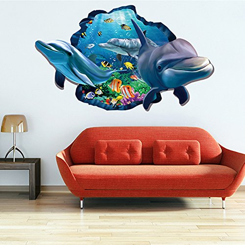 [Wowall Home Decor Halloween Horrible 3D Aquarium Ocean Underwater Sea World Dolphin Broken Wall Fish Poster Wall Stickers] (Halloween Decor For Home)
