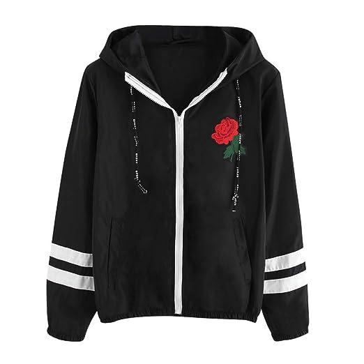 POTO Windbreakers,Womens Waterproof Raincoat Rose Hooded Zip up Windbreaker Pockets Jacket Sport Coat Windproof