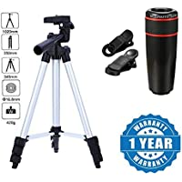 Captcha® Super Light Universal Travel 3110 Portable & Foldable Camera Mobile Tripod with 12X Telephoto Lens Compatible with Xiaomi, Lenovo, Apple, Samsung, Sony, Oppo, Gionee, Vivo Smartphones (One Year Warranty)