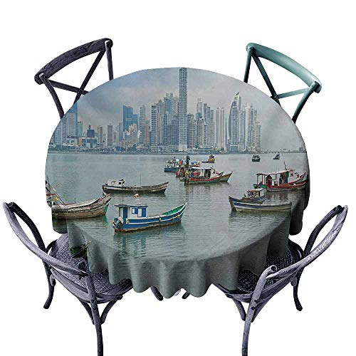 VIVIDX Waterproof Table Cover,Landscape,Anchored Fishing Boats Skyscrapers Panama Cityscape Pacific Coast Central America,Modern Minimalist,47 INCH,Multicolor -