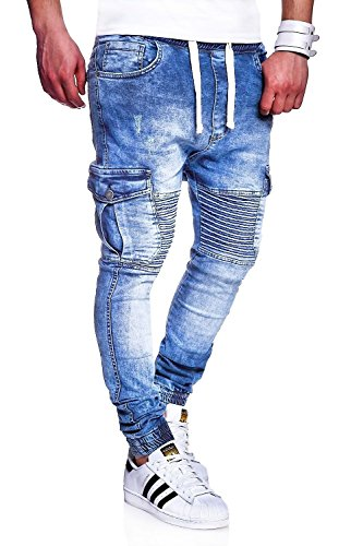 Behype Men's Jeans Pants Regular Fit Destroyed Effect With Pockets RJ-2271 (LightBlue,W36) (Blue Denim Effect)