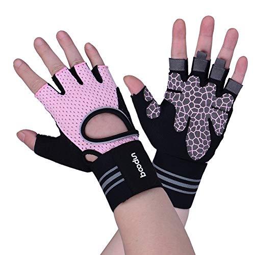 ZBmiluddeer Unisex Sports Gym Fitness Workout Wrist Support Half Finger Anti-Skid Gloves - Pink M