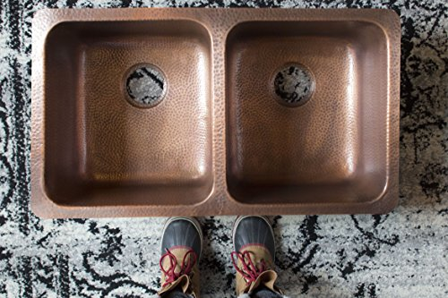 Sinkology SK204-32AC Rivera Luxury Series Undermount Handmade Pure Copper Double Bowl Kitchen Sink, 32-1/4'', Antique Copper by Sinkology (Image #3)