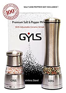 Salt and Pepper Grinder Set, GYLS Manual Grinder Set of 2 For Salt and Pepper, Stainless Steel Body, Strong Adjustable Ceramic Grinder, Acrylic Glass, Durable, Refill Grinders with Most Spices
