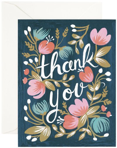 """""""Thank You"""" Midnight Garden Notecards by Rifle Paper Co. -- Set of 8 Cards and Envelopes"""