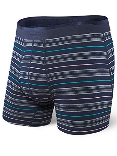 Saxx Underwear Men's Platinum Boxer Brief Navy Tidal Stripe (Medium)