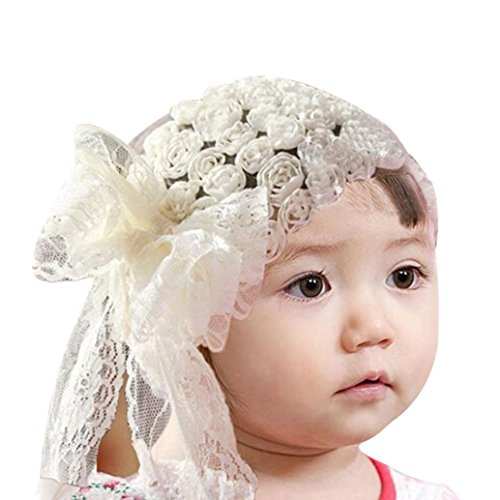 Mosunx Baby Girl Kids Lace Flower Headband Hair Bow Band Accessories Headwear (White)