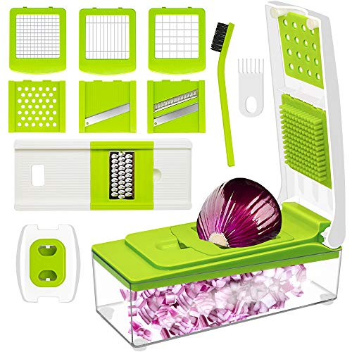 Vegetable Chopper, ANKO Adjustable Vegetable and Fruit Slicer Cheese Grater Multi Blades; Stainless-Steel Blades; BPA-FREE; 10-in-1 Multi-Functional with Cleaning Brush (Nicer Dicer Plus As Seen On Tv)