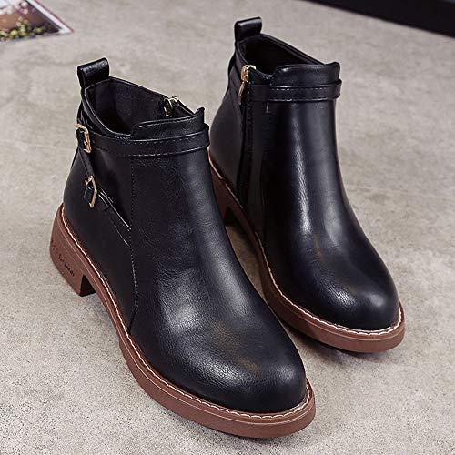 Chaussures Dayseventh En Cuir Noir Fminine Bout Rond paisse Glissire Fermeture Massif Moyenne Botte Mode Martin rrqO4H