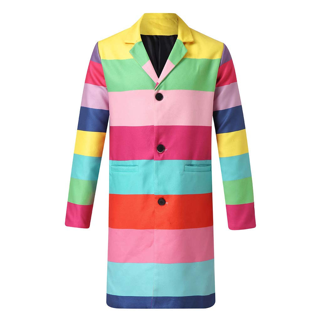 OMINA Mens Rainbow Printed Plaid Trench Coat Slim Fit 2019 Fashion Woolen Coat Outwear