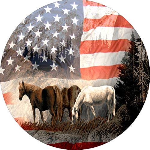 TIRE COVER CENTRAL Horses Mountain US Flag Spare Tire Cover 235/80r16 fits Camper Jeep RV Scamp Trailer etc(Drop Down Size menu - Fit Horse Trailer Cover