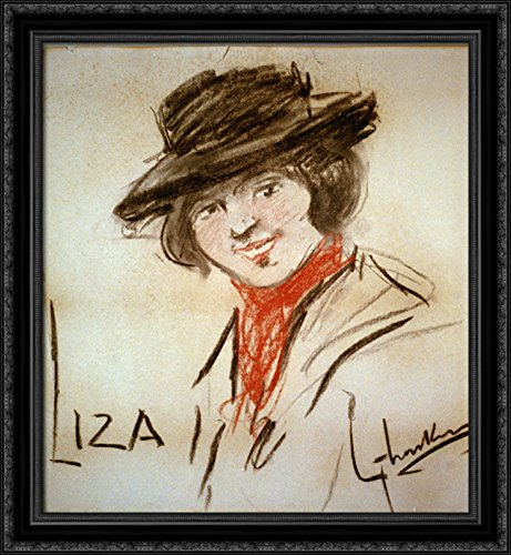 Drawing of Eliza Doolittle, a Character from George Bernard Shaw's Play Pygmalion 28x32 Large Black Ornate Wood Framed Canvas Art by George LUKS